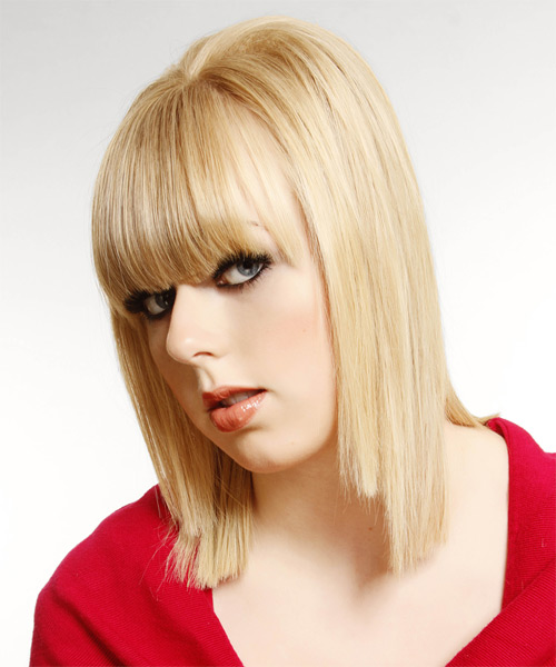 Medium Straight   Light Blonde   Hairstyle with Blunt Cut Bangs  and Light Blonde Highlights - Side on View