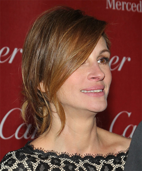 Julia Roberts Updo Long Straight Casual Wedding Updo Hairstyle   - Medium Brunette (Ash) - Side on View