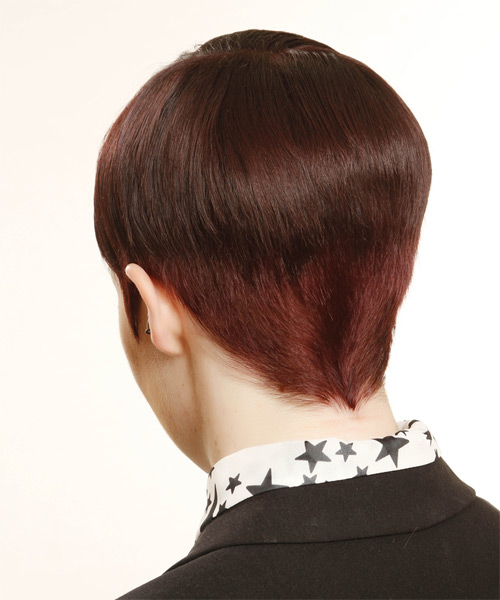Short Straight Formal    Hairstyle   - Medium Plum Red Hair Color with Pink Highlights - Side on View