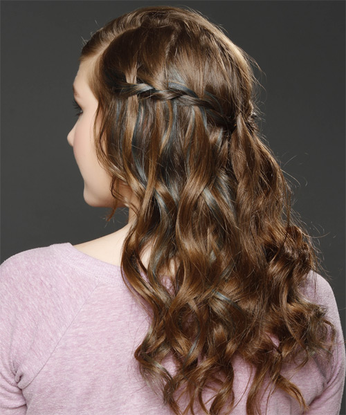 Long Curly Formal   Half Up Hairstyle   -  Caramel Brunette Hair Color with  Blonde Highlights - Side on View