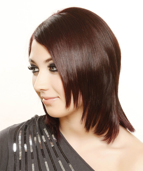 Medium Straight Formal   Hairstyle   - Dark Red (Burgundy) - Side on View
