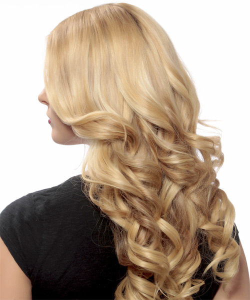 Long Wavy Formal   Hairstyle   - Light Blonde (Strawberry) - Side on View