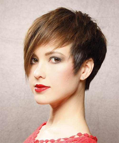 Short Straight    Chestnut Brunette   Hairstyle with Side Swept Bangs  - Side on View