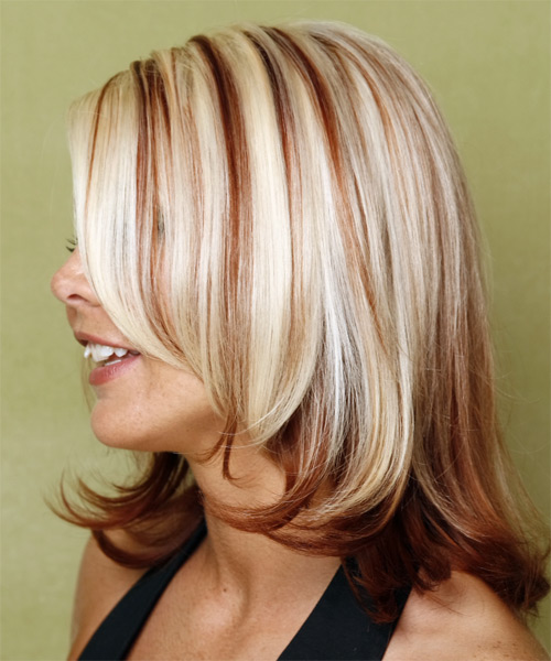 Long Straight    Red and Light Blonde Two-Tone   Hairstyle   - Side on View