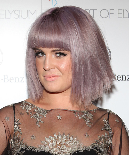 Kelly Osbourne Medium Straight Casual Bob  Hairstyle with Blunt Cut Bangs  - Black - Side on View