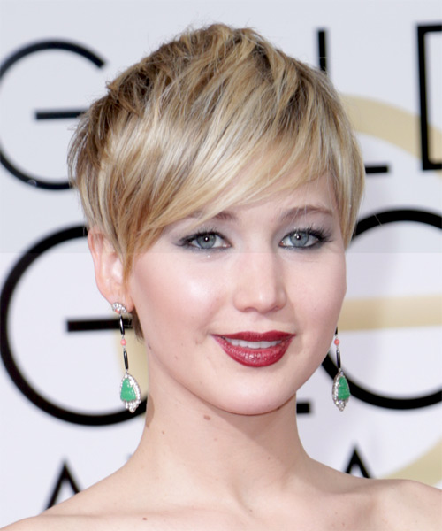 Jennifer Lawrence Short Straight Casual    Hairstyle   -  Golden Blonde Hair Color with Light Blonde Highlights - Side on View