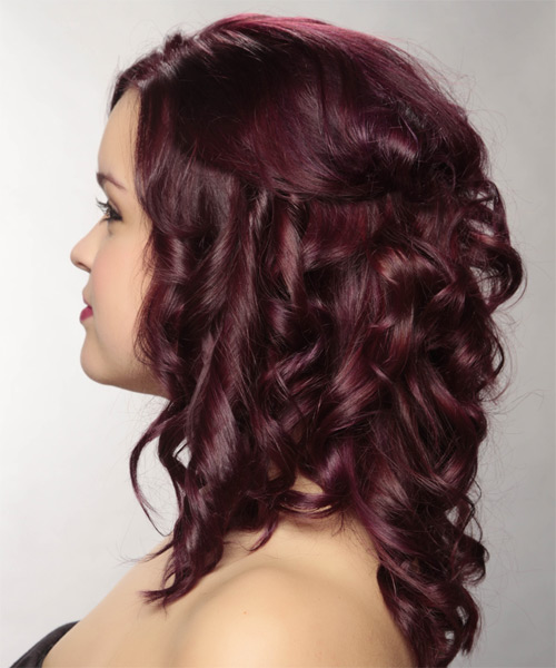 Long Curly Casual   Half Up Hairstyle   - Dark Plum Red Hair Color - Side on View