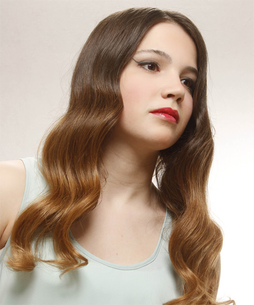 Long Wavy Formal   Hairstyle   - Medium Brunette - Side on View