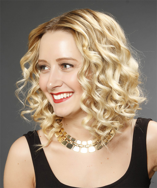 Medium Curly    Golden Blonde   Hairstyle   with Light Blonde Highlights - Side on View