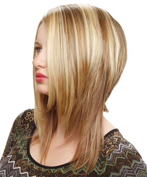 Medium Straight Alternative    Hairstyle   -  Honey Blonde Hair Color with Light Blonde Highlights - Side on View