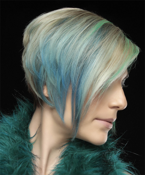 Short Straight Formal Layered Bob  Hairstyle   - Light Champagne Blonde Hair Color with Green Highlights - Side on View