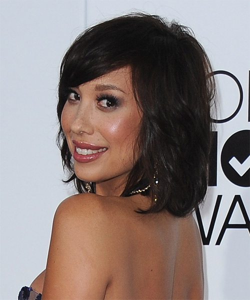 Cheryl Burke Medium Straight Casual   Hairstyle with Side Swept Bangs  - Dark Brunette - Side on View