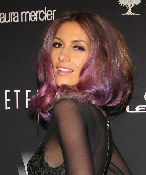 Dawn Olivieri Medium Wavy Alternative    Hairstyle   - Purple  Hair Color with Pink Highlights - Side on View