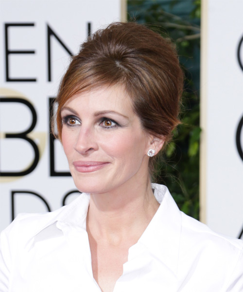Julia Roberts Updo Long Straight Formal Wedding Updo Hairstyle   - Medium Brunette (Chocolate) - Side on View