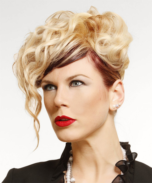Long Curly Alternative  Emo Updo Hairstyle   -  Golden Blonde and  Brunette Two-Tone Hair Color - Side on View