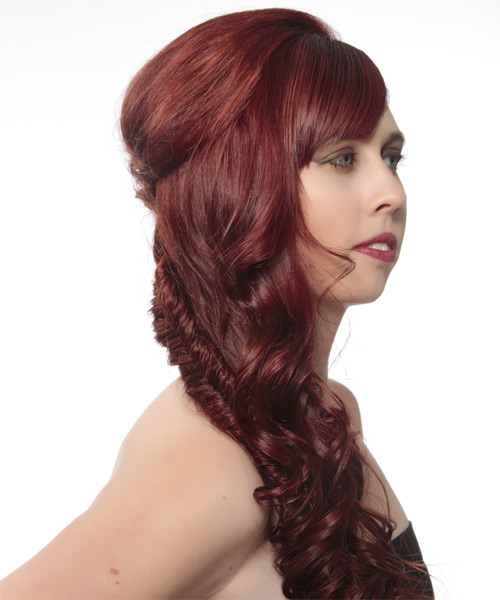 Updo Long Curly Formal  Updo Hairstyle with Side Swept Bangs  - Medium Red - Side on View