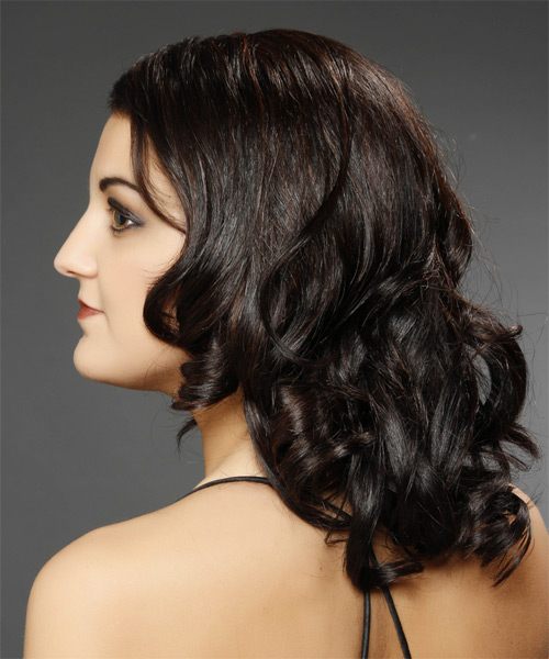 Medium Curly Formal   Hairstyle   - Dark Brunette - Side on View