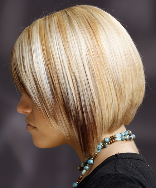 Medium Straight Formal    Hairstyle with Side Swept Bangs  - Light Golden Blonde Hair Color - Side on View