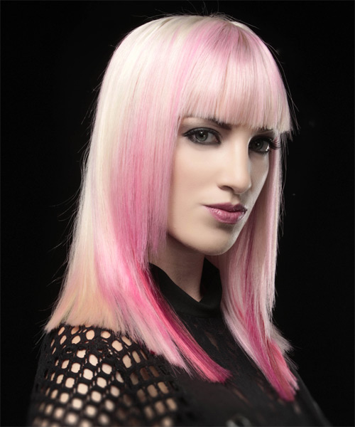 Long Straight Alternative    Hairstyle with Blunt Cut Bangs  - Pink  Hair Color - Side on View