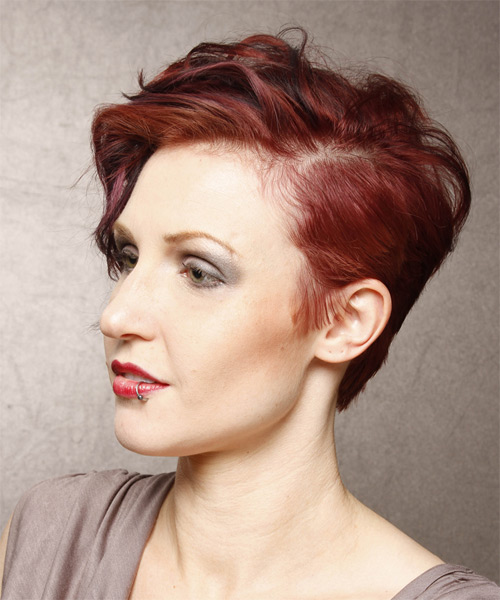Short Wavy Casual    Hairstyle   -  Red Hair Color with Dark Red Highlights - Side on View