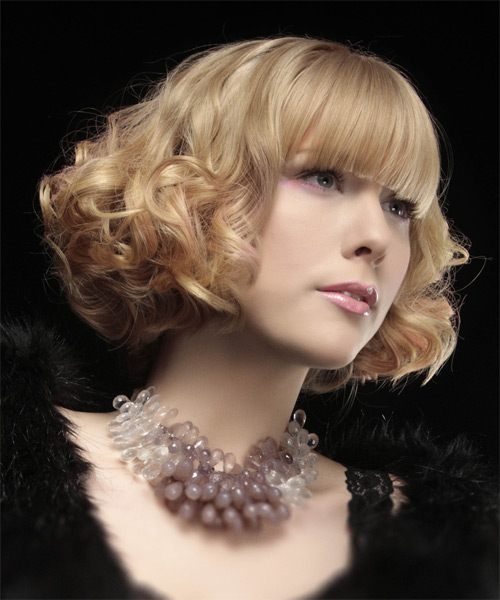 Short Curly Formal Bob  Hairstyle with Blunt Cut Bangs  - Light Blonde (Strawberry) - Side on View