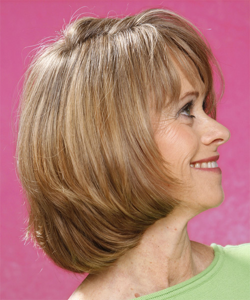 Medium Straight Formal   Hairstyle   - Dark Blonde - Side on View