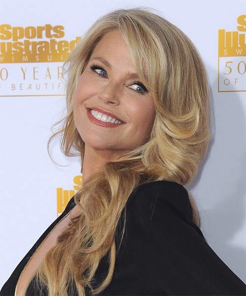 Christie Brinkley Long Wavy    Honey Blonde   Hairstyle   with Light Blonde Highlights - Side on View
