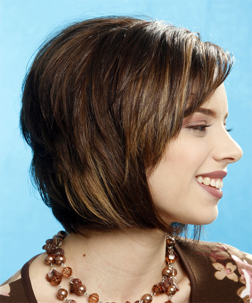 Medium Straight Casual   Hairstyle   - Side on View