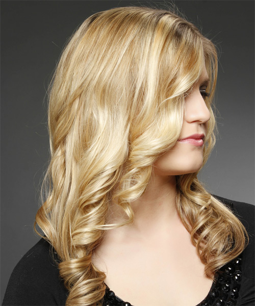 Long Curly   Dark Golden Blonde   Hairstyle   with Light Blonde Highlights - Side on View