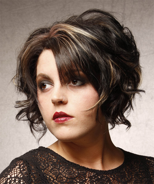 Short Wavy Formal    Hairstyle   - Black  Hair Color with Light Blonde Highlights - Side on View