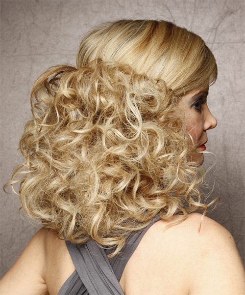 Half Up Long Curly Formal  Half Up Hairstyle   - Light Blonde (Honey) - Side on View
