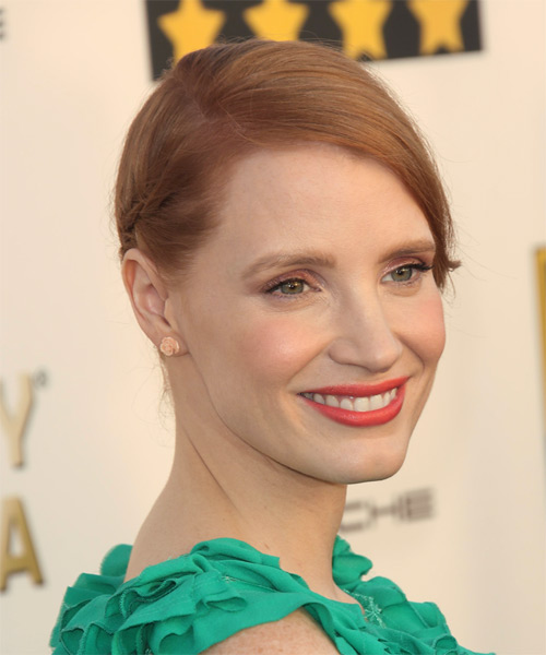 Jessica Chastain   Long Straight Formal   Updo Hairstyle   - Light Copper Red Hair Color - Side on View