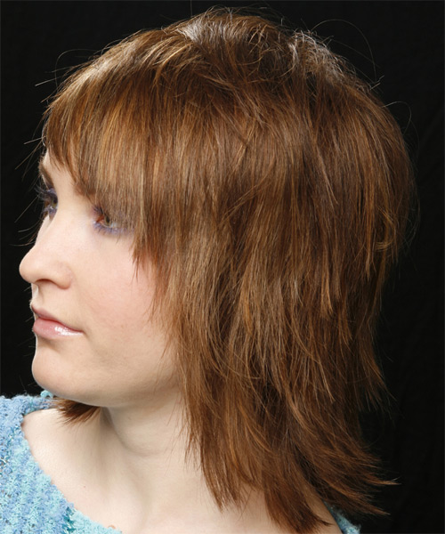 Medium Straight   Light Chestnut Brunette   Hairstyle   - Side on View