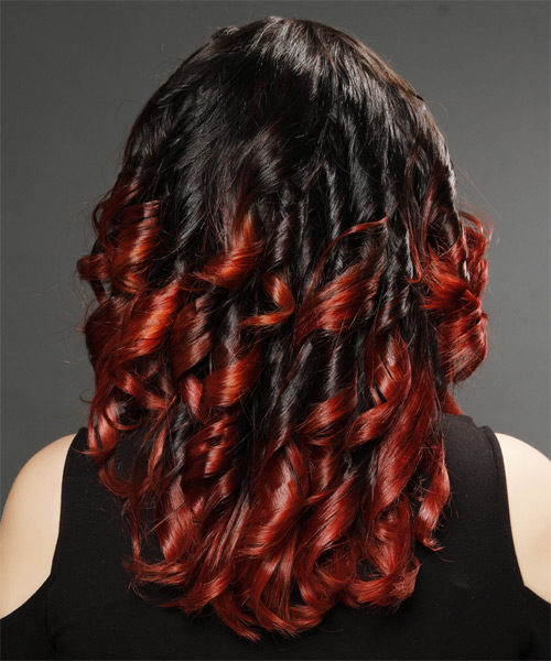 Long Curly Alternative   Hairstyle   - Dark Brunette - Side on View