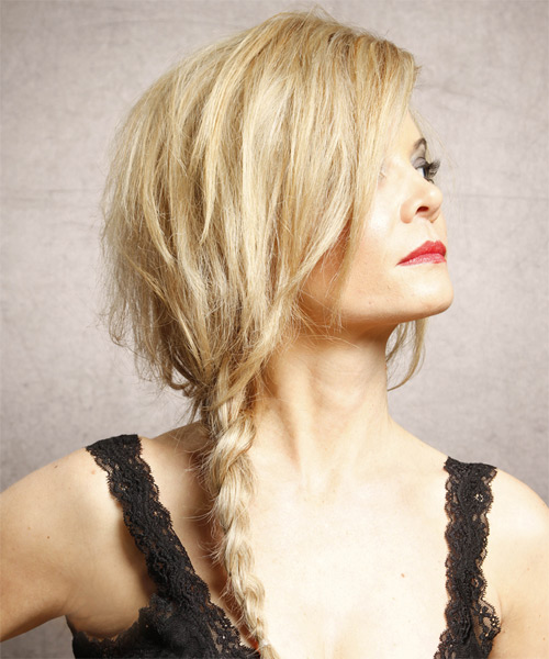 Long Straight Casual  Braided Half Up Hairstyle   - Medium Golden Blonde Hair Color with Light Blonde Highlights - Side on View