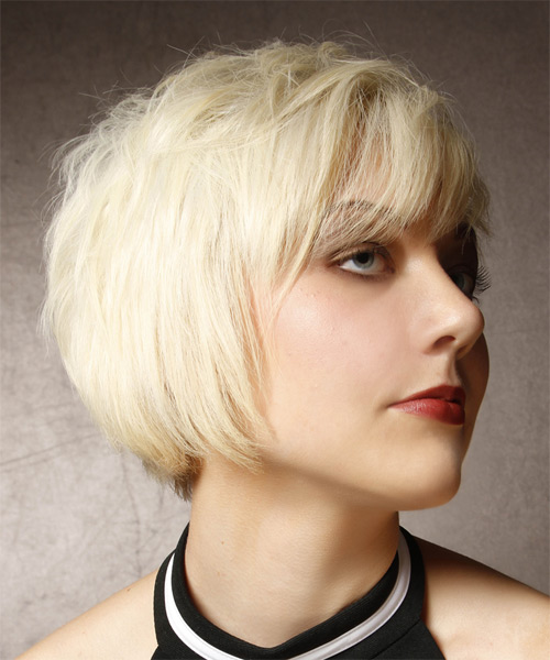 Short Straight Alternative Asymmetrical  Hairstyle with Side Swept Bangs  - Light Blonde - Side on View