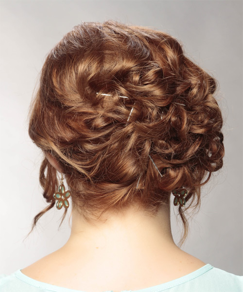 Long Curly   Light Red  Updo    with  Blonde Highlights - Side on View
