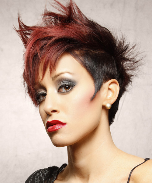 Short Straight Red and Dark Red Two-Tone Hairstyle