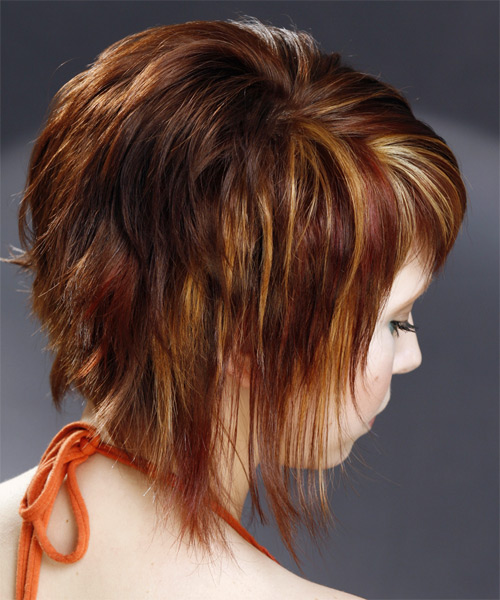 Medium Straight   Dark Mahogany Red   Hairstyle with Side Swept Bangs  and  Blonde Highlights - Side on View