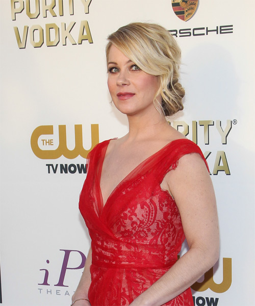 Christina Applegate Updo Long Straight Formal Wedding Updo Hairstyle   - Light Blonde - Side on View