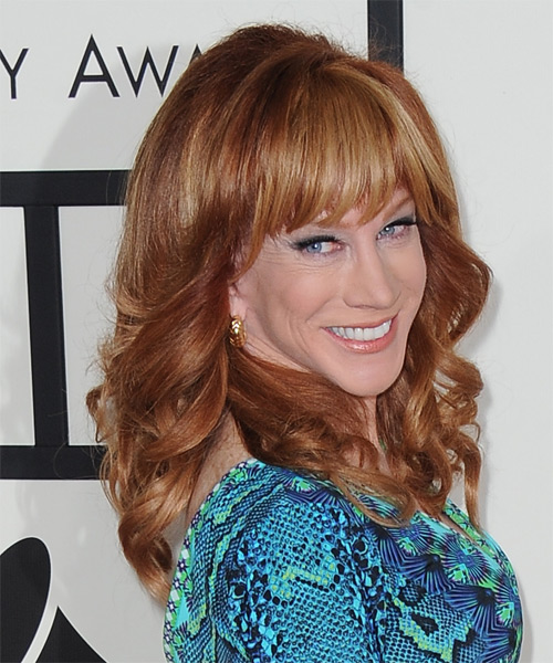 Kathy Griffin Long Wavy Formal   Hairstyle with Blunt Cut Bangs  - Medium Red (Copper) - Side on View