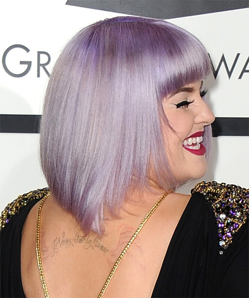 Kelly Osbourne Medium Straight Formal Bob  Hairstyle with Blunt Cut Bangs  - Purple - Side on View