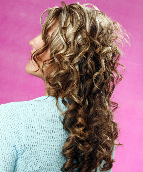 Long Curly Formal    Hairstyle   - Medium Brunette Hair Color with Light Blonde Highlights - Side on View