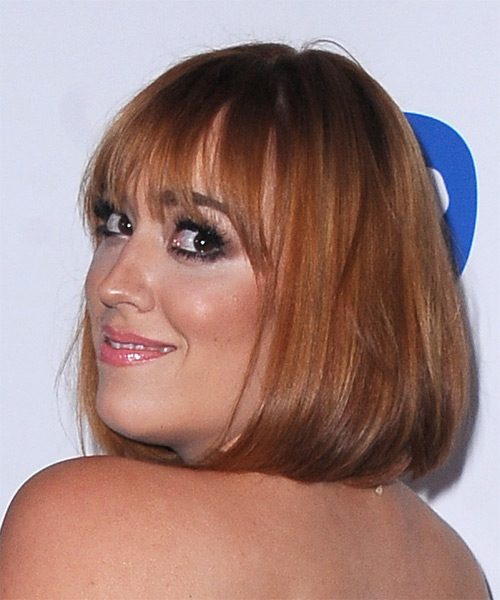 Andrea Bowen Medium Straight Casual Bob  Hairstyle with Blunt Cut Bangs  - Medium Red (Ginger) - Side on View