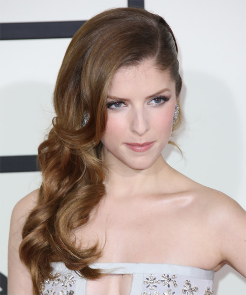 Anna Kendrick Half Up Long Curly Formal  Half Up Hairstyle   - Medium Brunette (Ash) - Side on View