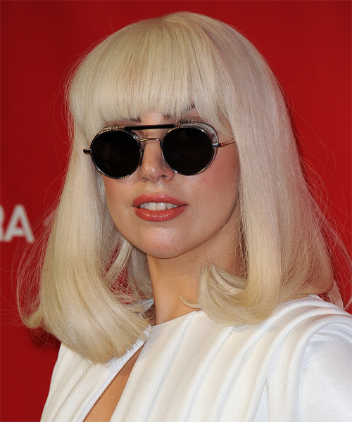 Lady GaGa Medium Straight   Light Honey Blonde   Hairstyle with Blunt Cut Bangs  - Side on View