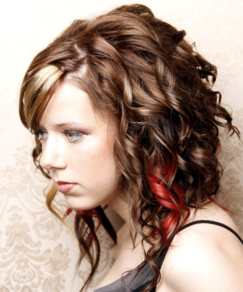 Long Curly Formal    Hairstyle with Side Swept Bangs  - Medium Chocolate Brunette Hair Color with Light Blonde Highlights - Side on View
