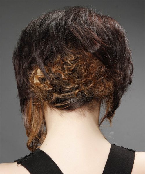 Medium Curly Formal  Asymmetrical Updo Hairstyle   - Dark Brunette Hair Color with  Blonde Highlights - Side on View