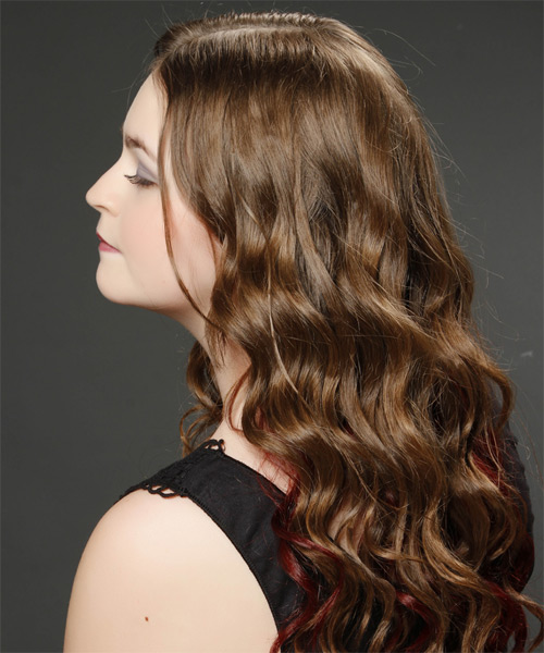 Long Wavy Casual    Hairstyle   -  Brunette Hair Color - Side on View