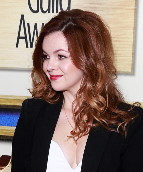 Amber Tamblyn Long Wavy Casual   Hairstyle   - Medium Brunette (Chestnut) - Side on View